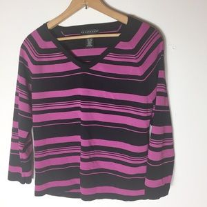 Apostrophe Black Stripe Rayon Blend XL Sweater